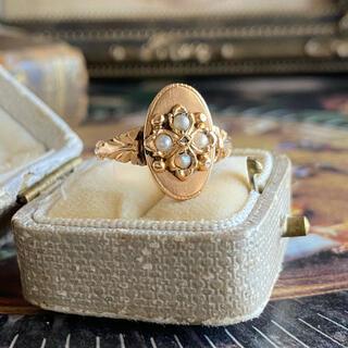 イギリス アンティークリング 天然ローズカットダイヤモンド 天然真珠 18金