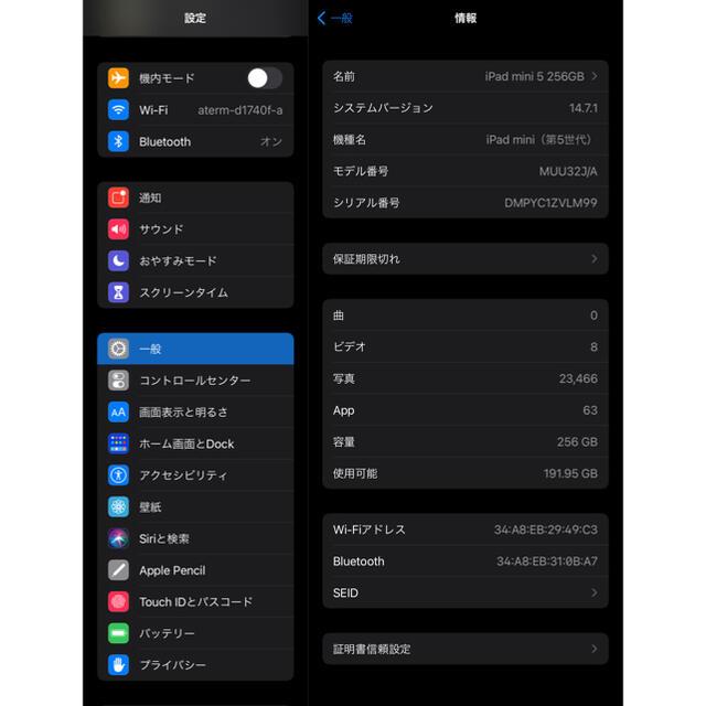 iPad(アイパッド)のしのびざくらさん専用/iPad mini 5 Wi-Fiモデル 256GB   スマホ/家電/カメラのPC/タブレット(タブレット)の商品写真