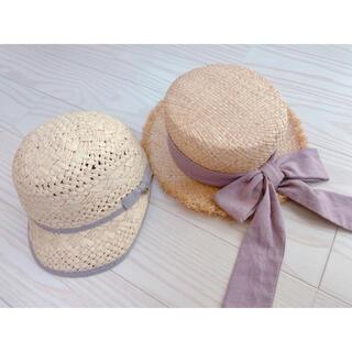 プティマイン(petit main)のプティマイン ラフィアハット キャップ カンカン帽 セット売り(帽子)