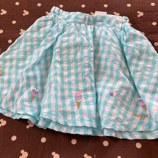 メゾピアノジュニア(mezzo piano junior)のメゾピアノジュニア アイス刺繍ギンガムスカート(スカート)