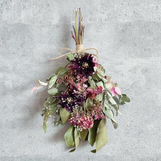 シックに大人っぽく*ナチュラルスワッグ ドライフラワー 花束 壁掛け 夏の贈り物(ドライフラワー)