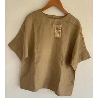 MUJI (無印良品) - 無印良品  オーガニックリネン洗いざらし 半袖ブラウス S・キャメル色