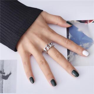 R09 シルバーチェーンリング 指輪 シルバー925 フリーサイズ(リング(指輪))