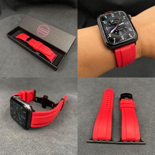 Apple Watch - newレッド アップルウォッチ用ラバーバンド バタフライバックル付き