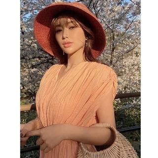 eimy istoire - ❤eimy❤【ワッシャープリーツドルマンワンピース】オレンジ・フリーサイズ