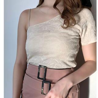 エイミーイストワール(eimy istoire)のエイミーイストワール eimy istoire ワンショルニット (WHITE)(Tシャツ(半袖/袖なし))