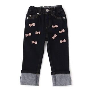 petit main - ★新品★ プティマイン リボンつきロールアップデニムパンツ 紺 130サイズ