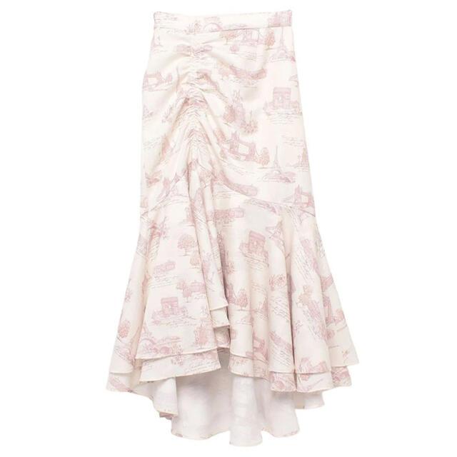 eimy istoire(エイミーイストワール)のeimyistoire Parispatternアシメギャザーマーメイドスカート レディースのスカート(ロングスカート)の商品写真