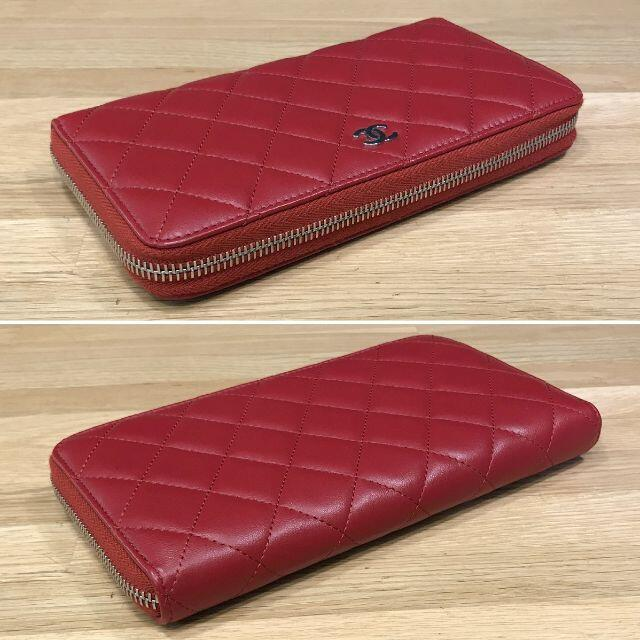 CHANEL(シャネル)の新品同様 シャネル マトラッセ ラウンドファスナー長財布 ラムスキン 赤 レディースのファッション小物(財布)の商品写真