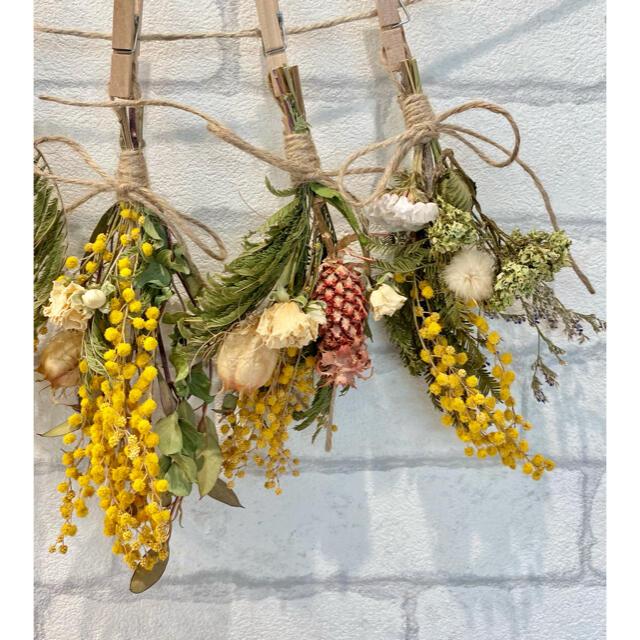 ドライフラワー スワッグ ガーランド❁328 黄色ミモザ 白オレンジ 花束♪ ハンドメイドのフラワー/ガーデン(ドライフラワー)の商品写真