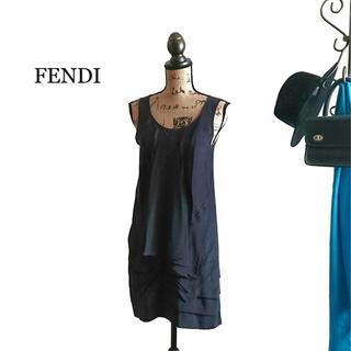 フェンディ(FENDI)のFENDI フェンディ ワンピース ブラック シルク(ミニワンピース)