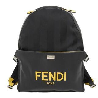 フェンディ(FENDI)のフェンディ ペカン リュック ナイロンキャンバス レザー ブラック イエロー(バッグパック/リュック)
