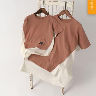 ブリーズ(BREEZE)のWEB限定 布帛ドッキングTシャツ【BREEZE by saori】(Tシャツ(半袖/袖なし))