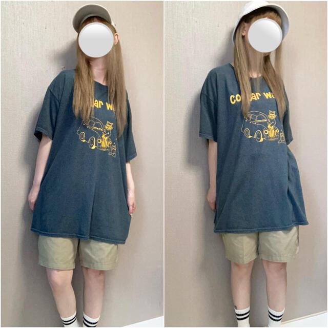 古着 ビッグシルエット プリント Tシャツ オーバーサイズ メンズ XL T 灰 メンズのトップス(Tシャツ/カットソー(半袖/袖なし))の商品写真