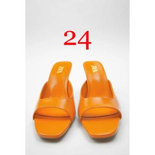 ZARA - 【ZARA】スクエアヴァンプハイヒールサンダル オレンジ