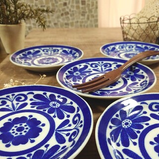 北欧風᯽᨞᨞୭ 呉須 インディゴブルー 中皿 取皿 パン皿 5枚セット(食器)