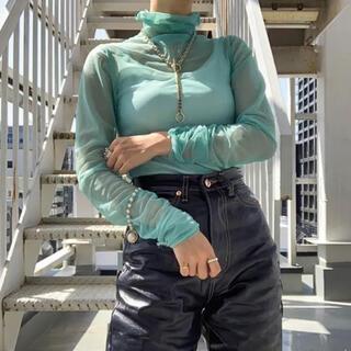 nugu シアーシャツ ミント シースルー