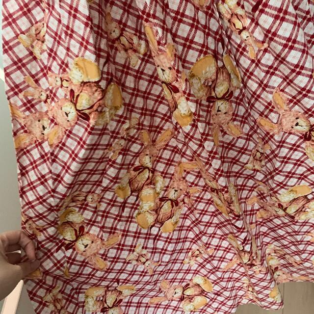 PINK HOUSE(ピンクハウス)のピンクハウス  うさぎ エプロンワンピース ウサギ レディースのワンピース(ロングワンピース/マキシワンピース)の商品写真