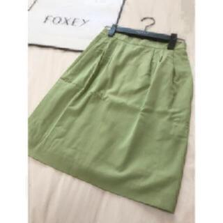 フォクシー(FOXEY)の美品 foxey スカート  グリーン フォクシー(ひざ丈スカート)