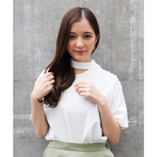 snidel - ECLIN エクラン ショルダーボタンチョーカーTシャツ ホワイト