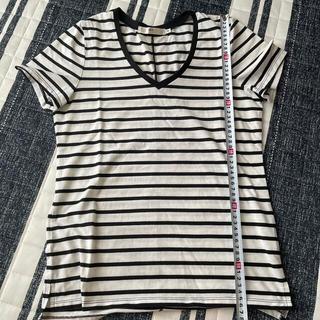 アズールバイマウジー(AZUL by moussy)のボーダーvネックTシャツ(Tシャツ(半袖/袖なし))