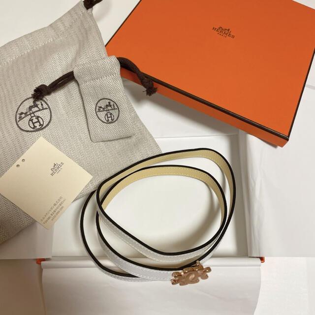 Hermes(エルメス)の2021 エルメス  ベルト ジョーヌプッサン 白 13mm ピンクゴールド レディースのファッション小物(ベルト)の商品写真