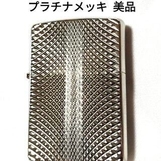 ZIPPO - ZIPPO 両面 ダイヤカット プラチナメッキ 美品
