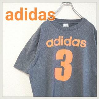 adidas - 【美品】adidas アディダス 3ロゴTシャツ グレー オレンジ L