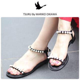 TSURU by Mariko Oikawa - 雑誌掲載◇21SS ツルバイマリコオイカワ パール サンダル ブラック 新品24