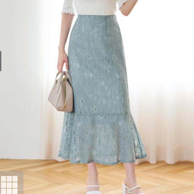 GRL(グレイル)のハイウエストレースマーメイドスカート GRL レディースのスカート(ロングスカート)の商品写真
