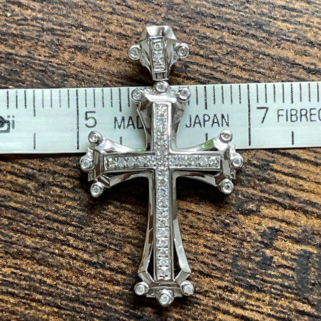 AVALANCHE(アヴァランチ)のK18 k14 クロス ペンダントトップ ホワイトゴールド ダイヤモンド  メンズのアクセサリー(ネックレス)の商品写真
