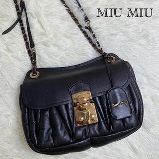miumiu - 【極美品!✨】ミュウミュウ ショルダーバッグ マテラッセ ブラック×ゴールド