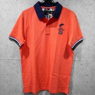 【新品/送料込】L★THOMAS SAINTオレンジ デザイン半袖ポロシャツ★(ポロシャツ)