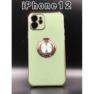 iPhone12 ケース シンプル 韓国 人気 スマホ ライトグリーン F