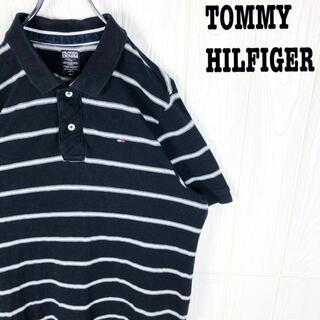 トミーヒルフィガー 半袖ポロシャツ ボーダー ゆるだぼ 刺繍ワンポイント 胸ロゴ(ポロシャツ)