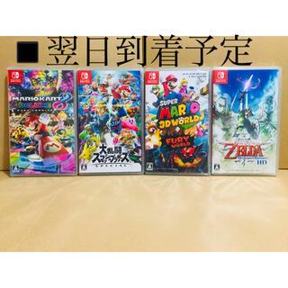 ニンテンドースイッチ(Nintendo Switch)の4台 ●マリオカート8●スマッシュブラザーズ●マリオ3Dワールド●ゼルダの伝説(家庭用ゲームソフト)