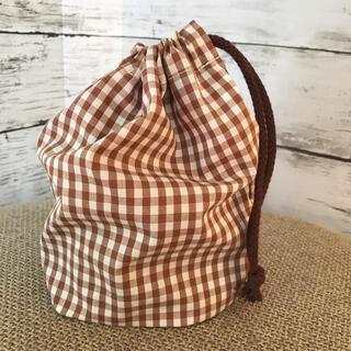 新品 ハンドメイド コップ袋 巾着 ギンガムチェック 茶色 ブラウン(外出用品)