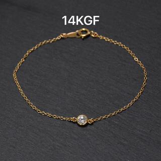 14KGF CZダイヤブレスレット ⚫︎華奢