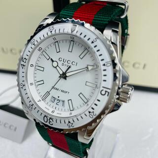 Gucci - 美品 エレガント! グッチ ダイブ ホワイトカラー  メンズ クォーツ腕時計