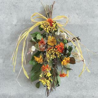 季節のお花のスワッグ*ビタミンカラー♡インテリア マリーゴールド 贈り物 壁掛け(ドライフラワー)