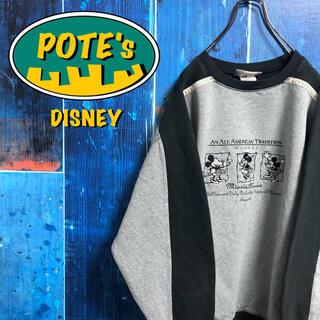 Disney - 【ディズニー】ミニーキャラ刺繍ロゴテープロゴサイドラインバイカラースウェット