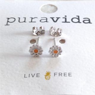 Pura Vida - セール中♪ Pura vida デイジー ピアス ペア 両耳 シルバー