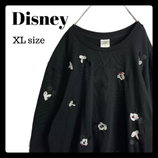 Disney - レア ディズニー Disney ミッキー 刺繡 総柄 トレーナー 美品