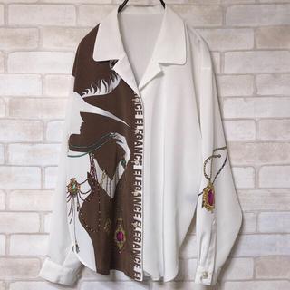 Santa Monica - 白茶 女性 シルエット 宝石 バイカラー 開襟シャツ ゆったり ヴィンテージ