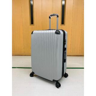 大型軽量スーツケース静音8輪キャリーバッグTSAロック付 Lサイズ シルバー(旅行用品)