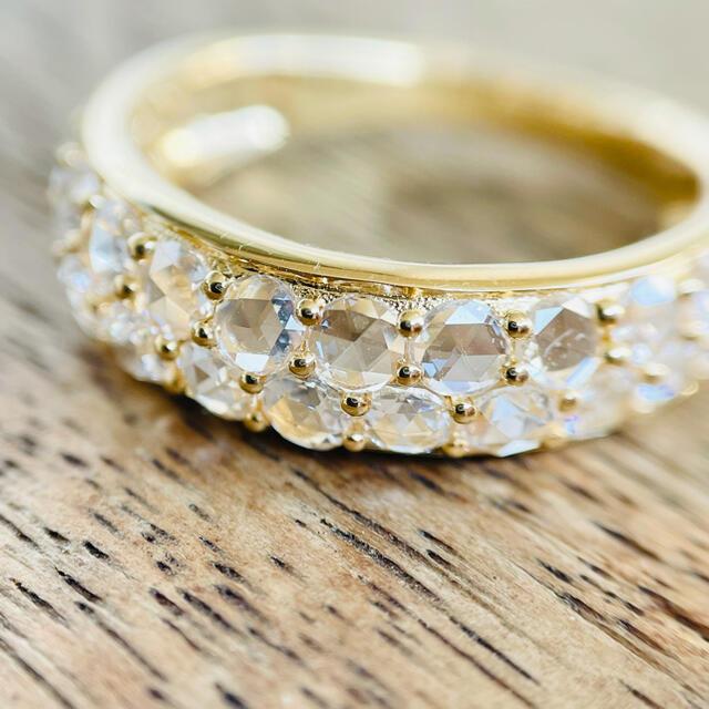 もすくわ様専用です。美しい透明感 ローズカット パヴェダイヤ リング レディースのアクセサリー(リング(指輪))の商品写真