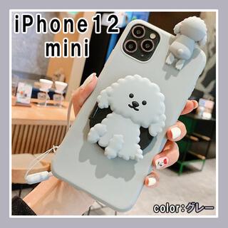 iPhone12mini 犬 ケース 人気 スマホ 携帯カバー グレー F