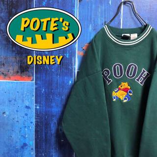 Disney - 【ディズニー】くまのプーさんキャラ刺繍ビッグロゴラインリブスウェット 90s