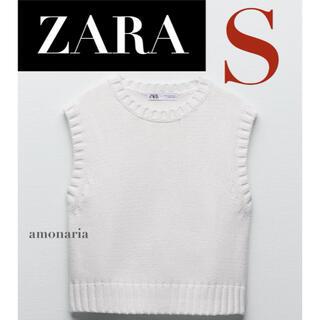 ZARA - 【8/7まで限定出品*新品】ZARA ニットベスト クロップド丈ベスト ベスト