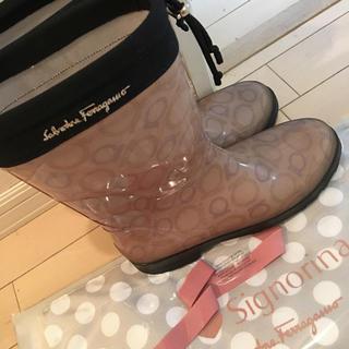 サルヴァトーレフェラガモ(Salvatore Ferragamo)のフェラガモ ハイソなレインシューズ 24.5(レインブーツ/長靴)